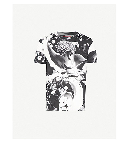 HUGO Abstract floral-print cotton-jersey T-shirt (White