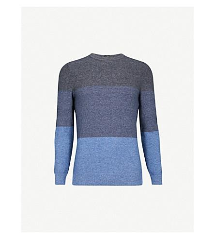 BOSS 条纹针织棉毛衣 (浅色/粉彩 + 蓝色)