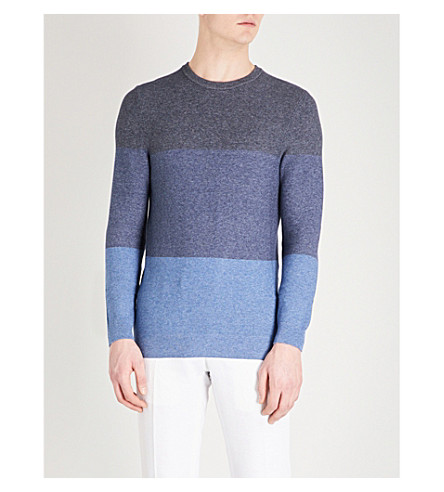 BOSS Striped knitted cotton jumper (Light/pastel+blue