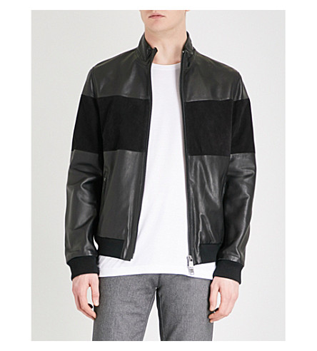 BOSS Panelled leather and suede jacket (Black