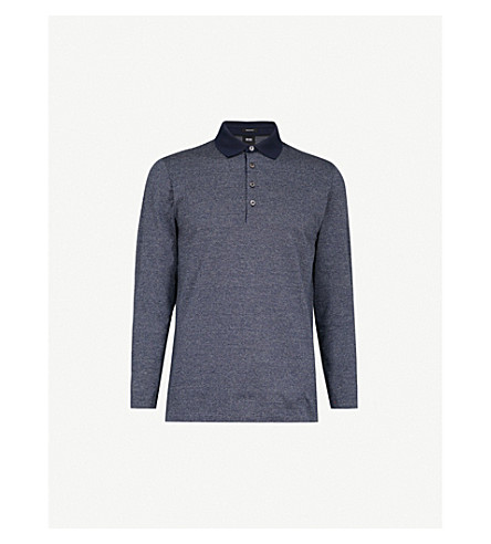 BOSS Patterned cotton polo shirt (Navy