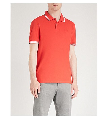 BOSS Striped-trim cotton-jersey polo shirt Bright red Shop For Sale Online sNYSdRm6qc