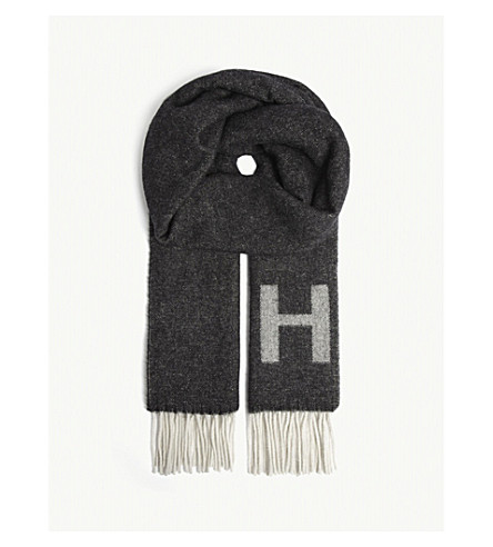 HUGO Logo wool-blend scarf (Black