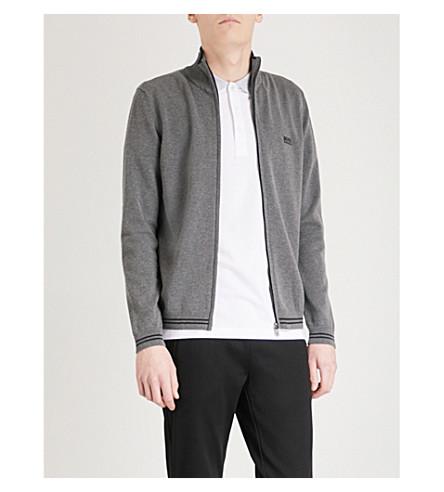 BOSS GREEN Zip-up cotton-blend jacket (Medium+grey