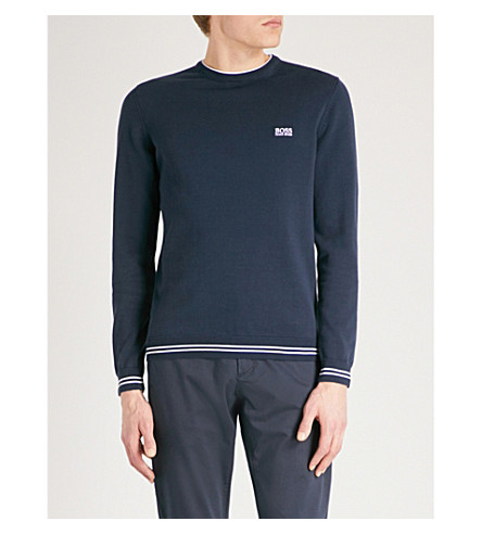 BOSS GREEN Stripe-trim waffle-knit cotton-blend jumper (Navy