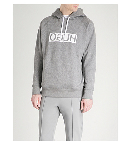 HUGO Reverse Logo cotton-jersey hoody (Medium+grey