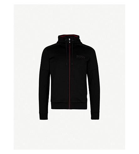 BOSS GREEN Contrast-panel jersey hoody (Black