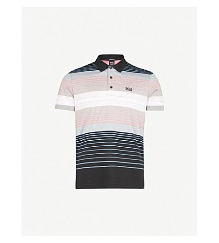 BOSS Logo-detail striped cotton-blend polo shirt (Black