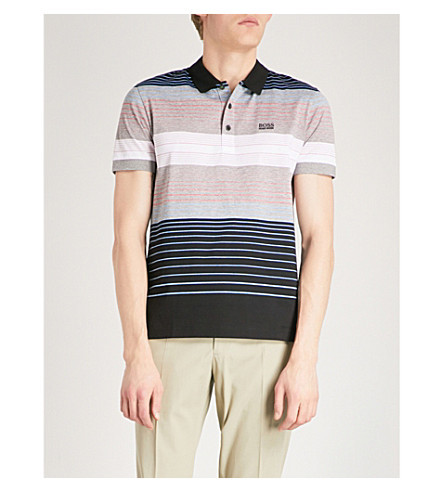BOSS GREEN Logo-detail striped cotton-blend polo shirt (Black