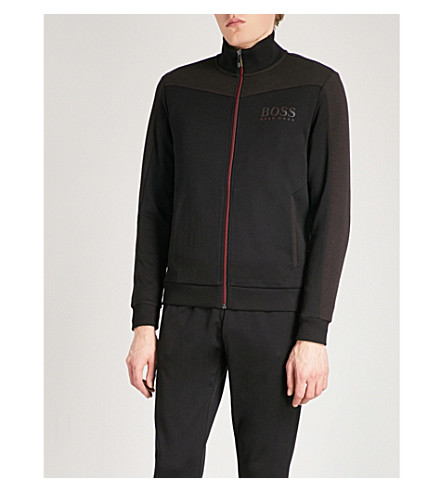 BOSS GREEN Contrast-panel jersey sweatshirt (Black