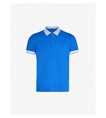BOSS GREEN Striped-trim cotton-blend polo shirt (Medium+blue