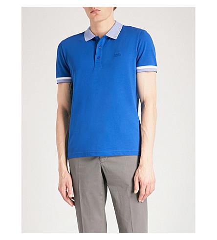 BOSS GREEN Striped-trim cotton-blend polo shirt (Medium+blue
