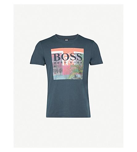 BOSS ORANGE Logo-print cotton-jersey T-shirt (Dark+blue
