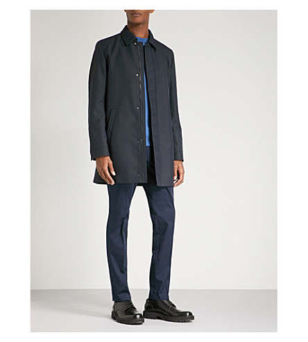 HUGO Collared woven coat (Navy
