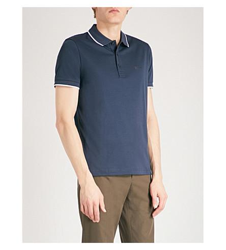 BOSS GREEN Contrast-trim cotton-blend polo shirt (Navy