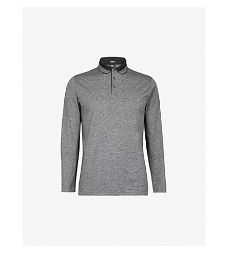 BOSS Leisure striped cotton polo shirt (Black