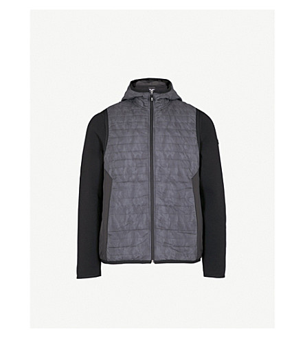 BOSS GREEN Contrast-sleeve shell-down jacket (Black