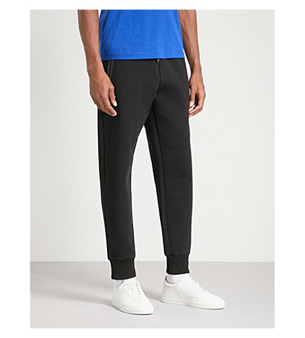 BOSS GREEN Contrast-trim cotton-jersey jogging bottoms (Black