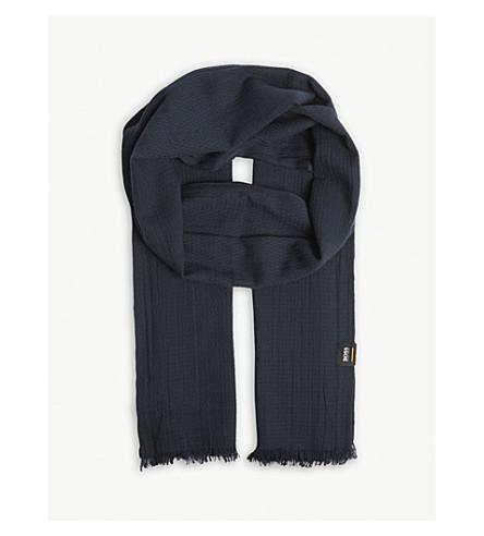 BOSS ORANGE Cotton frayed scarf (Dark+blue