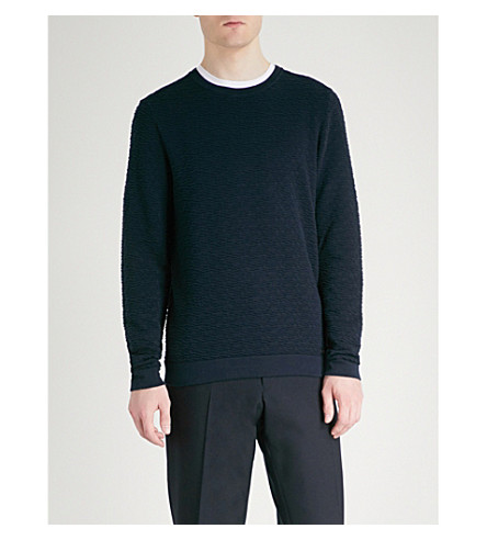 HUGO Textured cotton knitted jumper (Navy
