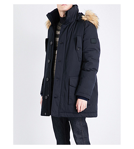BOSS Faux-fur trim padded parka coat (Navy