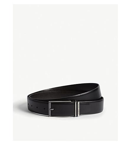 BOSS Interchangeable buckle leather belt (Black