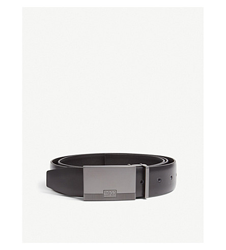 BOSS Leather buckle belt set (Black