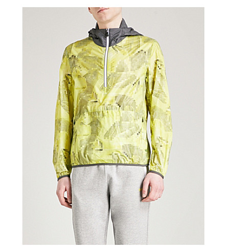 BOSS GREEN Pixelated-print hooded shell windbreaker jacket (Bright+yellow