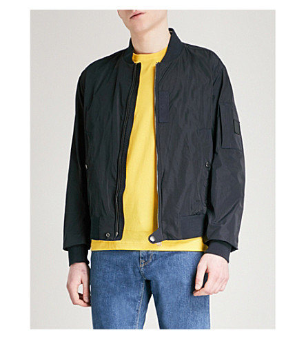 BOSS Stand-collar shell bomber jacket (Dark+blue