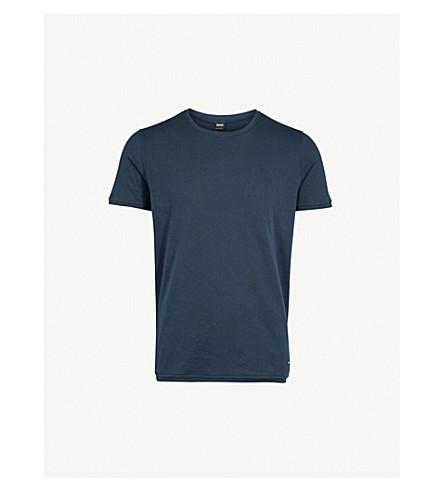 BOSS ORANGE Crewneck cotton-jersey T-shirt (Dark+blue