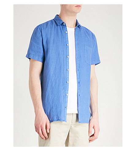 BOSS ORANGE Slim-fit linen shirt (Bright+blue