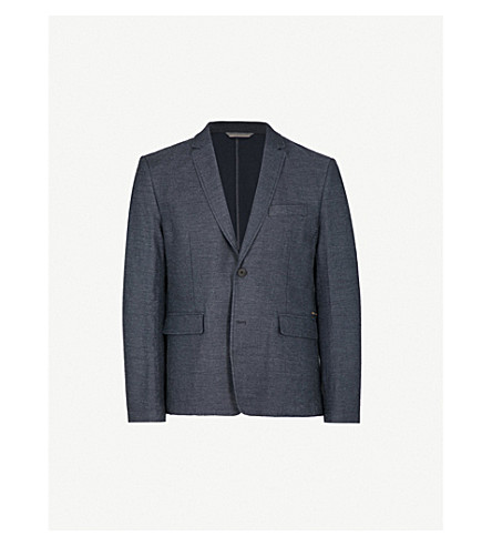 BOSS ORANGE Regular-fit cotton and linen-blend jacket (Dark+blue