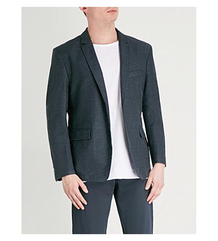 BOSS ORANGE Regular-fit cotton and linen-blend jacket (Dark+blue