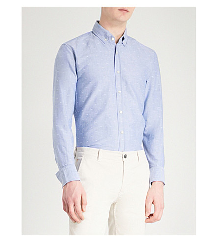 BOSS ORANGE Bird-patterned slim-fit stretch-cotton shirt (Navy