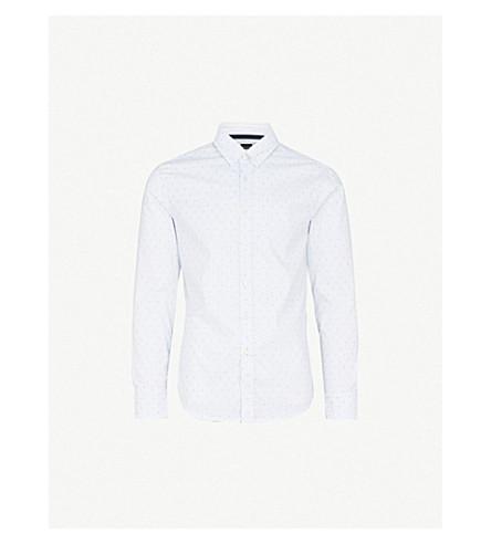 BOSS Geometric-print cotton shirt (White
