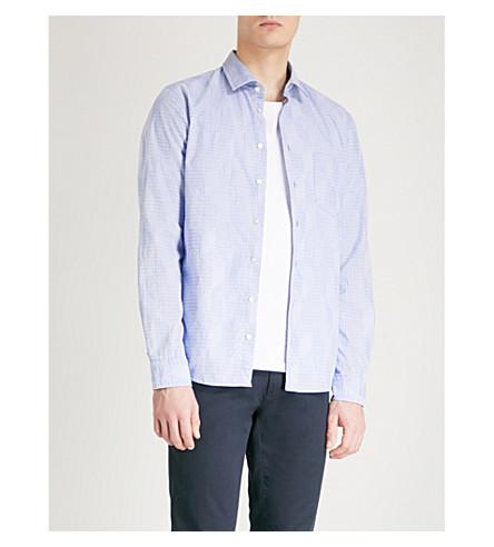 BOSS ORANGE Patterned slim-fit stretch-cotton shirt (Open+blue