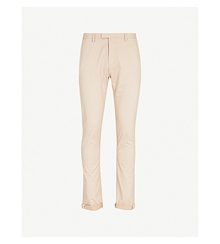 HUGO Slim-fit skinny cotton-blend trousers (Medium+beige