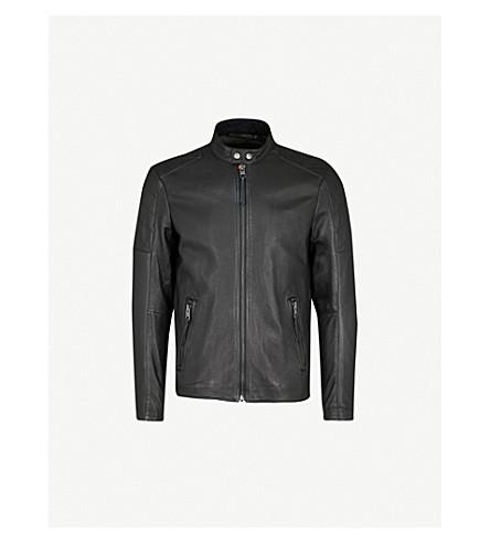 BOSS ORANGE Biker-panelled leather jacket (Black