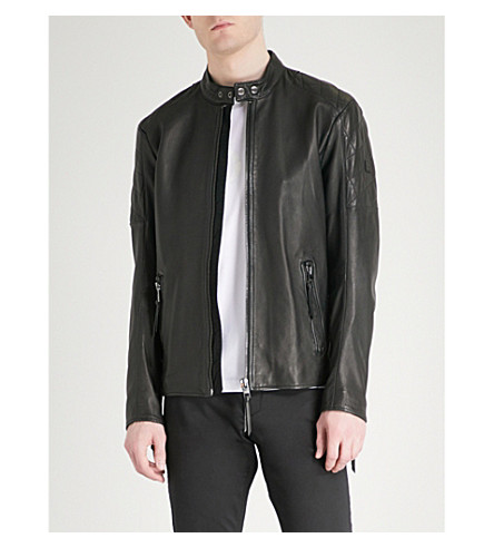 BOSS ORANGE Biker-panelled leather jacket (Black