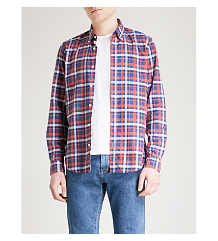 BOSS Checked regular-fit cotton shirt (Medium+orange