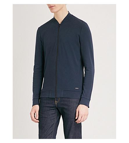 BOSS Zip-up slim-fit cotton-piqué jacket (Dark+blue