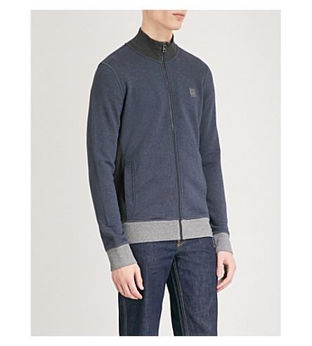 slim cotton BOSS fit up blue Zip Dark jersey jacket Sx7qERI7w