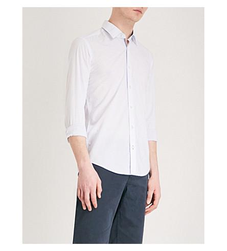 BOSS Diamond and dot-patterned regular-fit cotton shirt (Light/pastel+blue