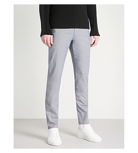 HUGO Slim-fit tapered stretch-cotton trousers (Navy