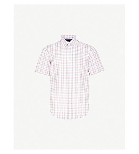BOSS Checked slim-fit cotton shirt (Medium+orange