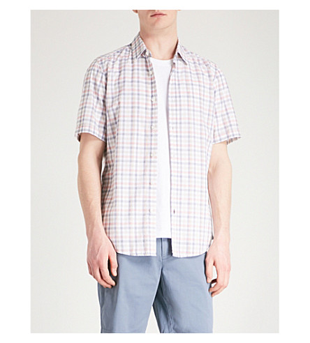 BOSS Checked slim-fit cotton shirt (Medium+orange