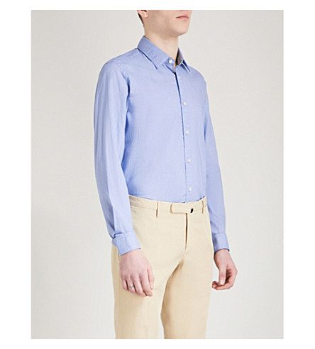 BOSS Slim-fit cotton shirt (Medium+blue
