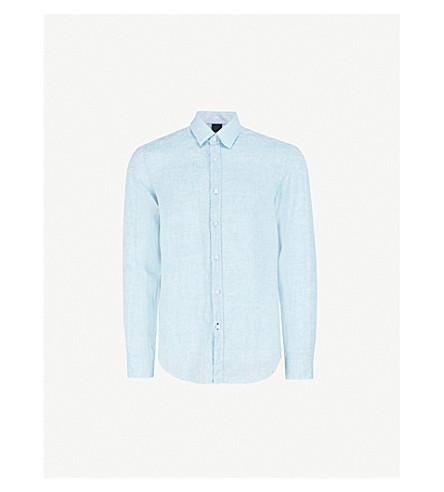 BOSS Regular-fit linen shirt (Light/pastel+blue
