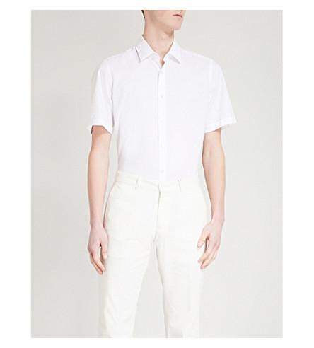 BOSS Short-sleeved regular-fit cotton shirt (White