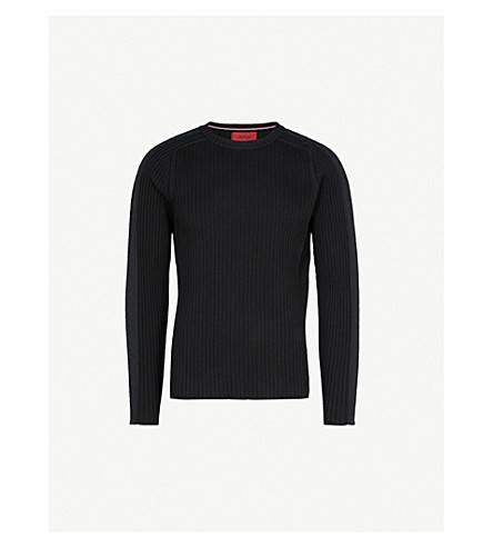 HUGO Ribbed cotton-knitted jumper (Black